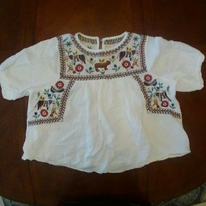 Boho Embroidered Women's Top Sz S